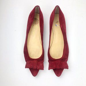 Ivanka Trump Red Suede Abello Pointed Toe Flats